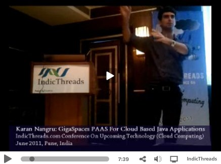 Karan presenting on Gigaspaces at Indic Threads Conference
